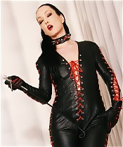 Handjob in Leather Catsuit