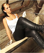 Young Mistress makes a prisoner her boot licker.