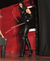 Young Mistress is caning a slave