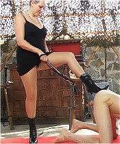 Arrogant bitches have fun with a naked slave (CBT).