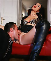 Seems my lawyer has a thing for boots, he can't stop licking them. I reward him with a very wet blowjob. So HOT!
